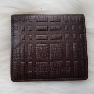 Burberry Brown Leather Nova Check Coin Purse